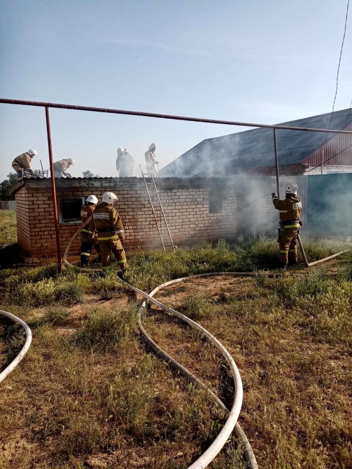Пожар в Целинном районе — МЧС России по Республике Калмыкия